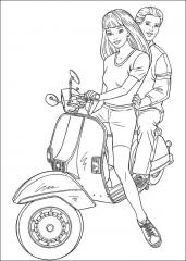 Pobarvanka Barbie na motorju