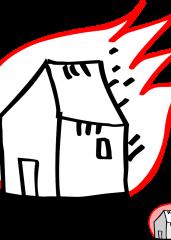 Pobarvanka goreča hiša