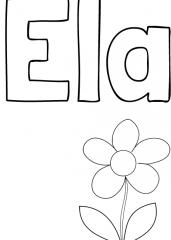 Pobarvanka imena Ela
