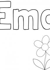 Pobarvanka imena Ema