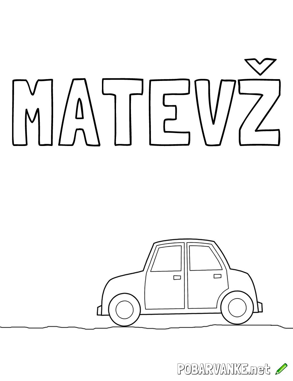Pobarvanka imena Matevž