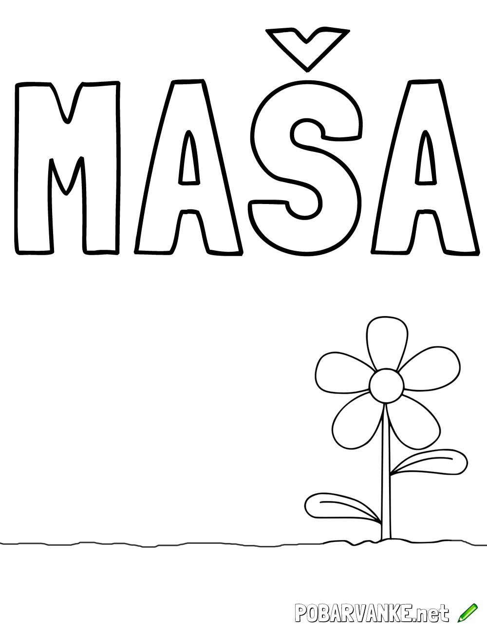 Pobarvanka imena Maška (2)