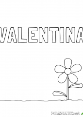 Pobarvanka imena VALENTINA