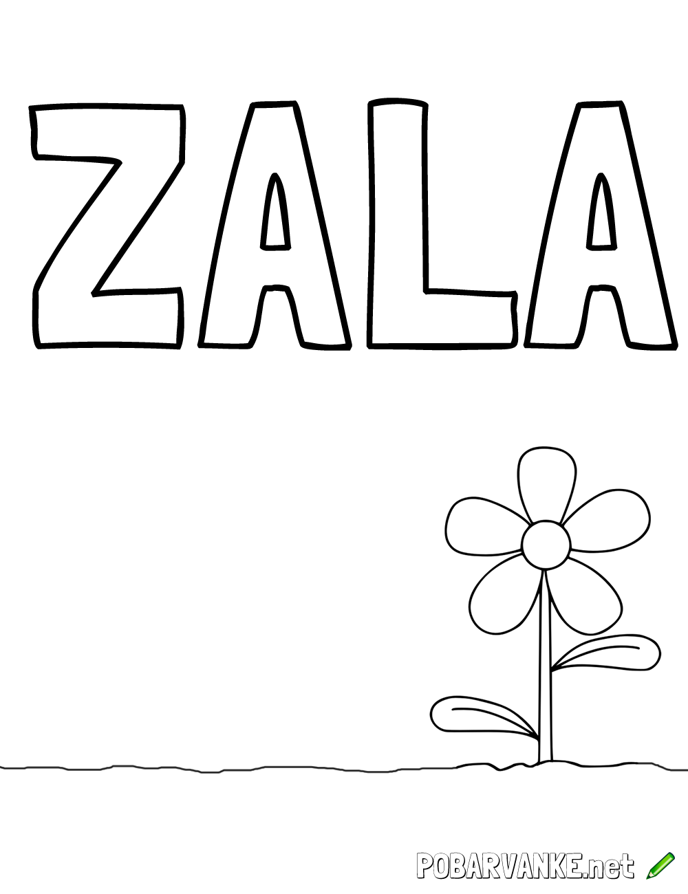 Pobarvanka imena ZALA (2)