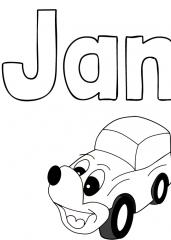 Pobarvanka imena Jan