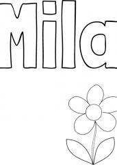 Pobarvanka imena Mila