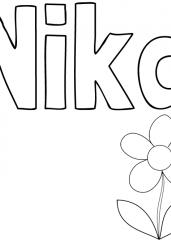 Pobarvanka imena Nika