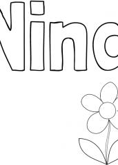 Pobarvanka imena Nina