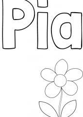 Pobarvanka imena Pia