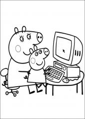 Pujsa Pepa za računalnikom