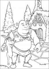 Pobarvanka Shrek in osliček