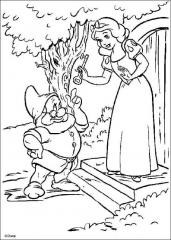 Pobarvanka Sneguljčica s palčkom