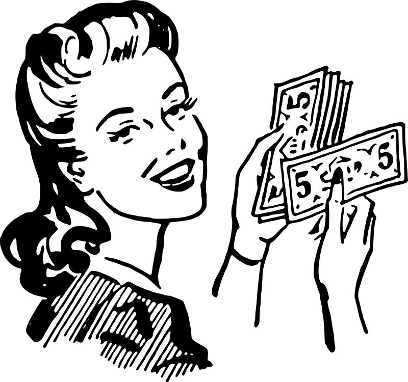 Pobarvanka ženske z denarjem